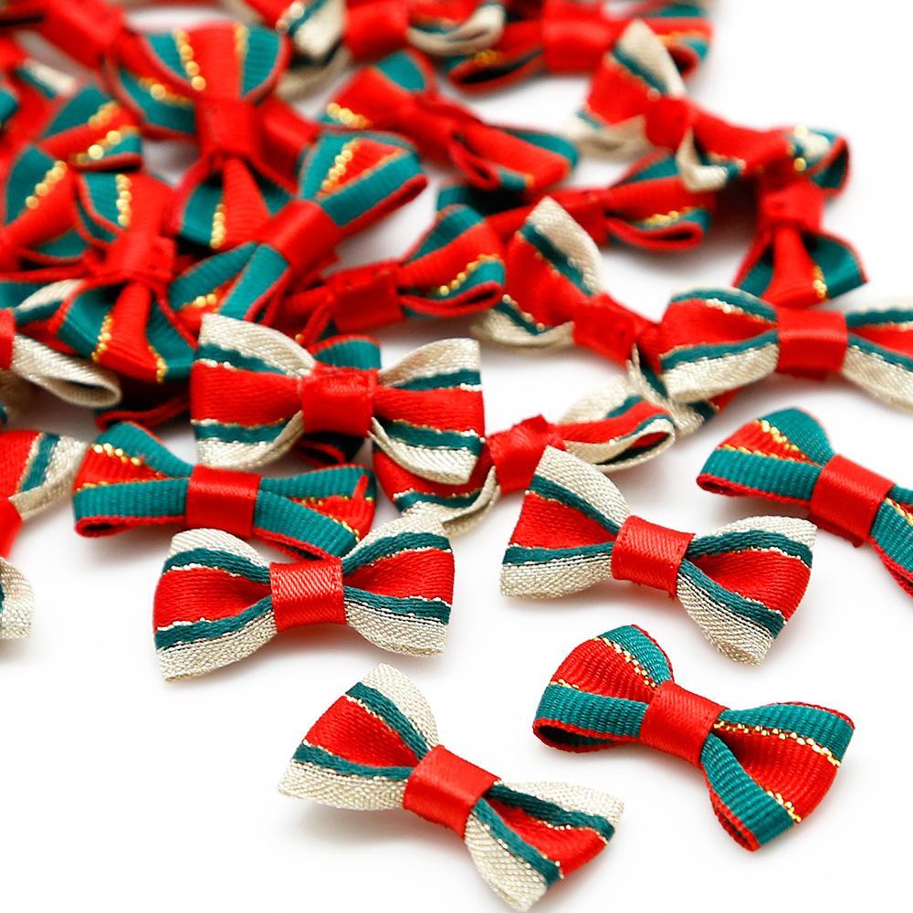 200pcs Rot / Grün-Satin-Band-Bögen für das Nähen Weihnachten Fliege Dekoration Handgemachte Party / Home / Kleid / Haarschmuck 3x1.5cm