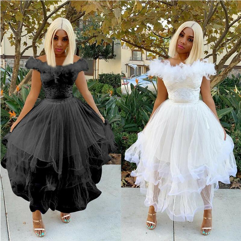 Femmes formelle hors épaule balle robe de bal robe robe dames fourrure plume taille haute parti robe mi-mollet robe de mode robe de soirée féminine