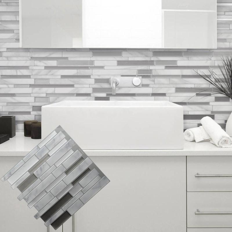 화이트 그레이 대리석 모자이크 껍질과 스틱 벽 타일 자체 접착 Backsplash에 DIY 주방 욕실 홈 벽 데칼 스티커 비닐 3D