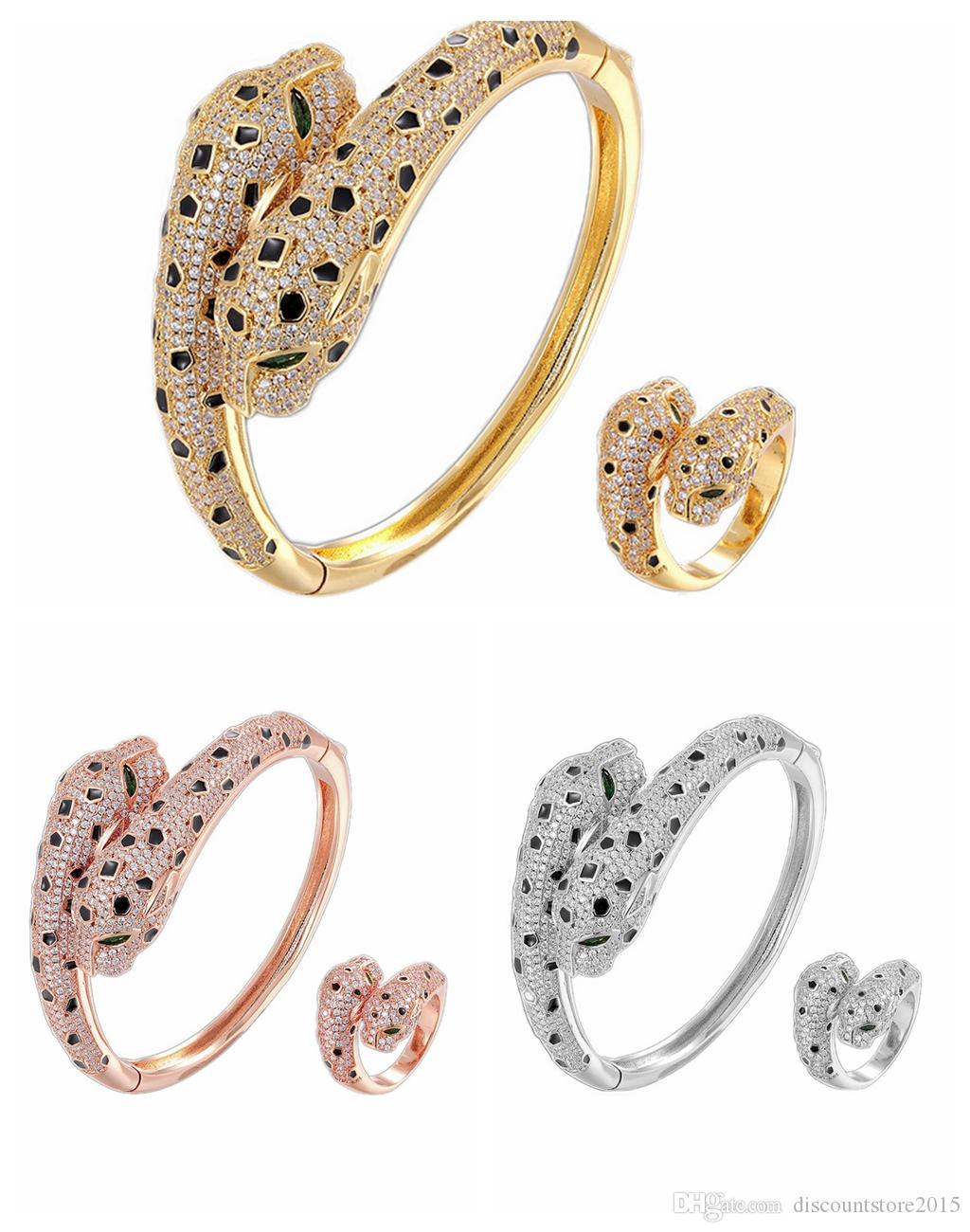 Marca de moda de jóias de luxo Lady Bronze Cheio de Diamantes Olhos Verdes Cabeças de Leopardo Duplas 18 K Ouro de Noivado Pantera Aberta Pulseiras Anel 3 Cores