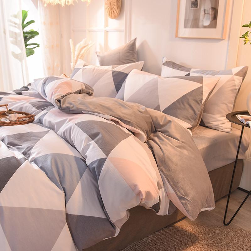 순수한면 크리스탈 벨벳 침대 이불 커버 평면 장착 침대 시트 베개 핑크 작은 돼지 파인애플 격자 무늬 표범