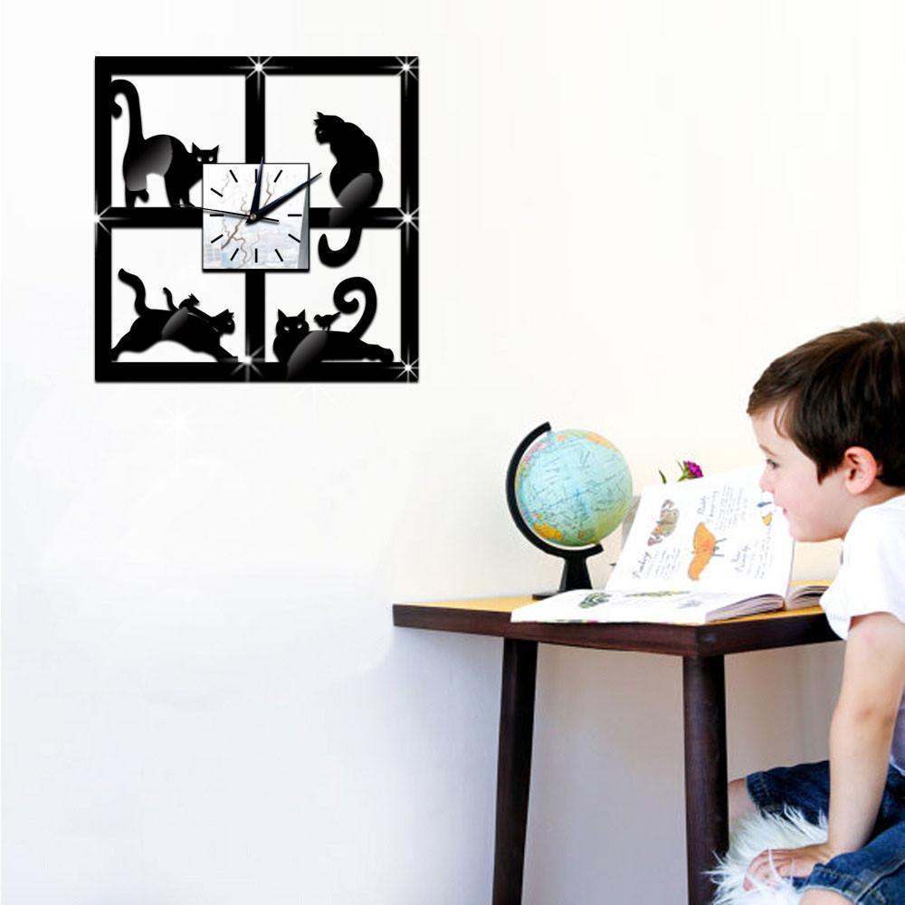 3D gato único espejo negro Reloj de pared diseño moderno hogar respetuoso del medio ambiente decoración de cristal decoración reloj etiqueta de la pared Y200109
