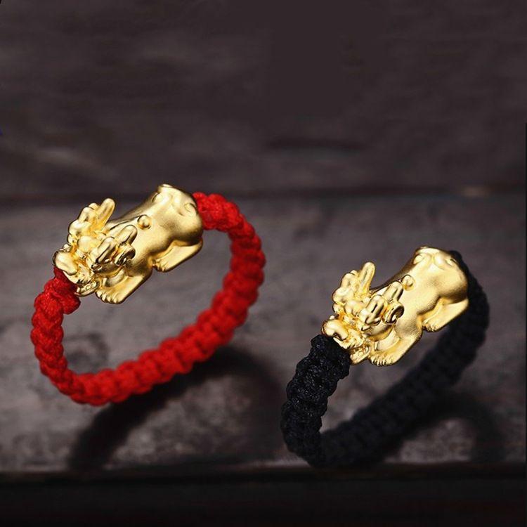 Anillo de cuentas afortunado anillo de oro PI xiu femenino pequeño amantes de tejido masculino este año nuevos anillos de estudiantes coreanos