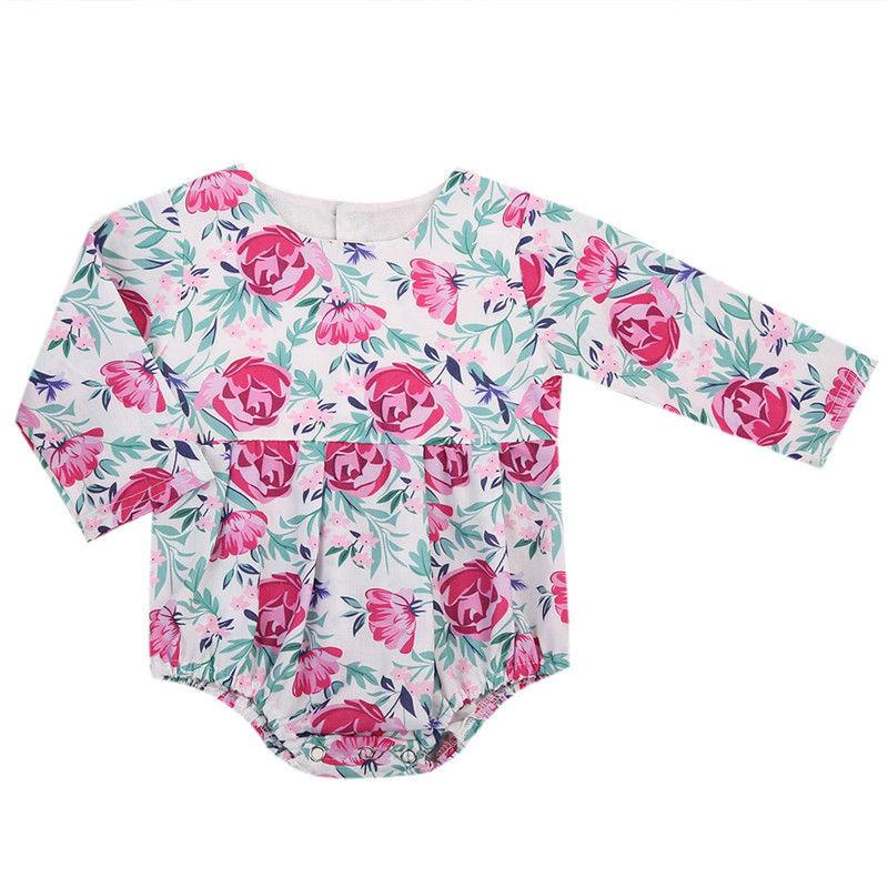 2017 Newest Lovely Floral Newborn Baby Girl Print Leaf Long Sleeve Bodysuit Jumpsuit Outfits Sunsuit Fashion Cute Clothes