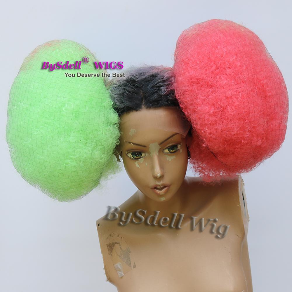 Celebridad Ciara Metgala peinado peluca sintética afro rizado rizado dos tonos rojo verde dos flequillo pelucas delanteras del cordón del pelo mullido para las mujeres negras