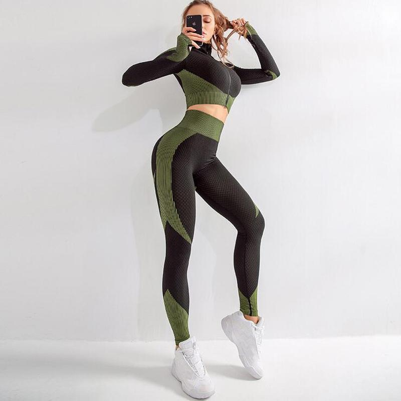 Seamless Yoga Set Mulheres de Fitness Gym Roupa Yoga longos da luva cintura alta Correndo Leggings Suits Workout calças esportivas