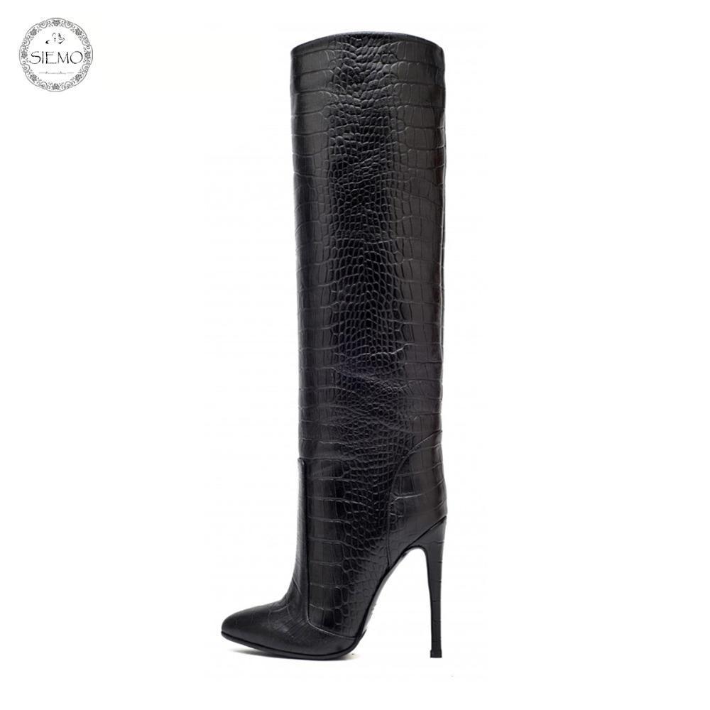 سيمو أزياء المرأة أشار تو أحذية عالية الكعب الركبة مستقيم رمح واسعة الكاحل الانزلاق على الشتاء اللباس أحذية لنا حجم 4-15.5
