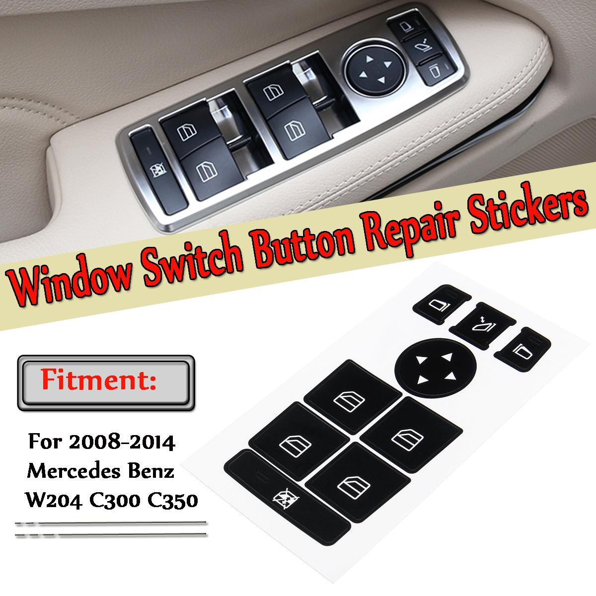 2pc Auto-Fenster-Schalter Taste Reparatur-Aufkleber für Mercedes für Benz 08-14 W204 C300 C350 Knopf Reparatursatz Fix hässliche Buttons Faded