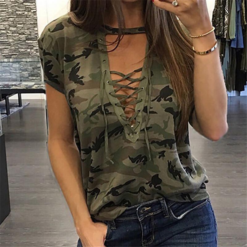 Mode-Frauen-Sommer-lose-Spitze T-Shirt 2019 Sommer-Kurzschluss-Hülsen-Camo Sexy-T-Shirt Damen-Tarnung druckt beiläufige Oberseiten-T-Shirt