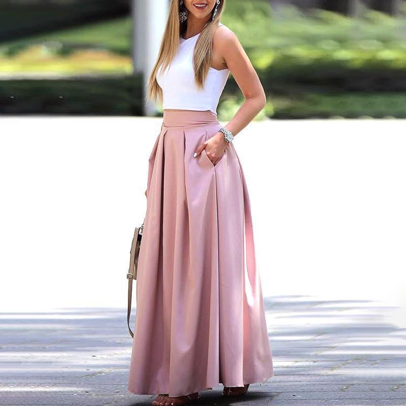 2 Piece Set Summer Fashion Women Elegant Casual Two-piece Suit Set Female Sleeveless Cropped Top & Pleated Maxi Skirt Sets Y19051402
