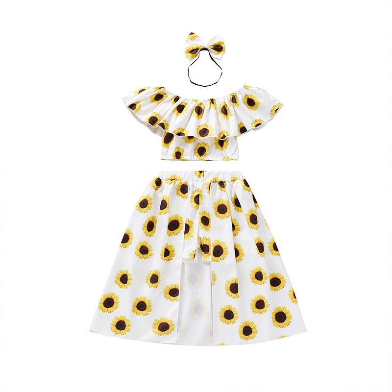 Sommer-Mädchen-Kleidung 3pcs Klage-Kleidungs-Satz Sunflowers Printed Schulterfrei Tops + Kleid + Stirnband 2020 Mode