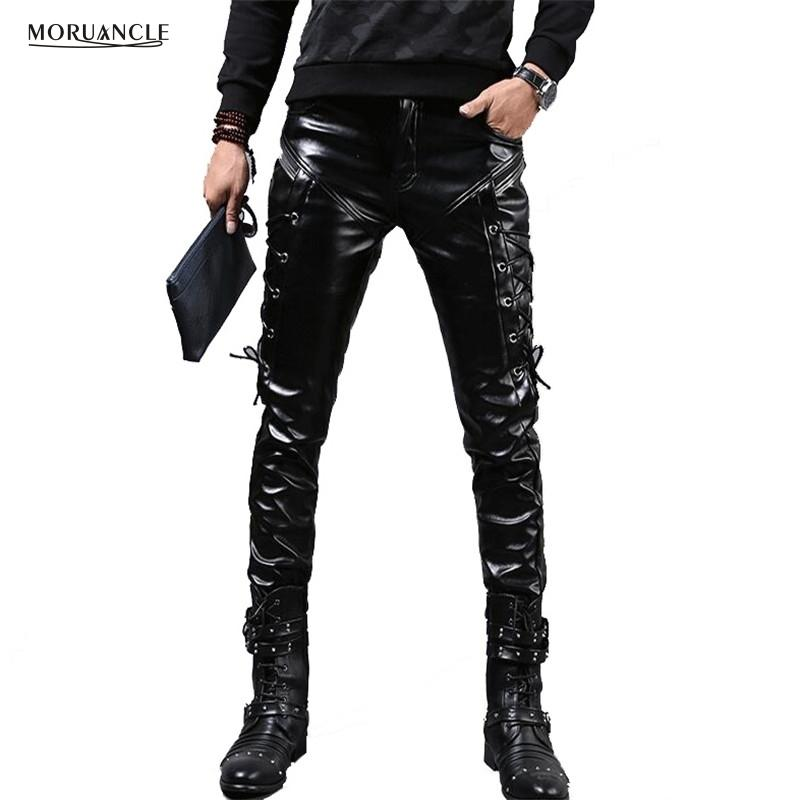 MORUANCLE New Winter Mens Skinny Biker Leather Pants Fashion Faux Leather Motorcycle Trousers For Male Stage Club Wear CJ191213
