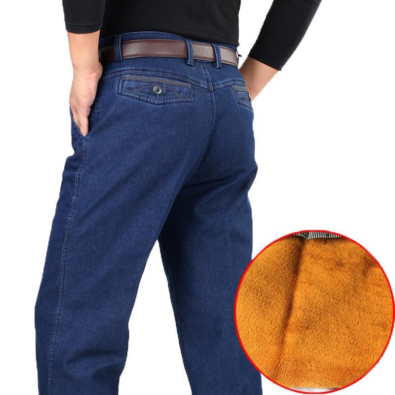 30-44 Grosso Inverno Fleece Denim Calça Casual Calças de cintura alta frouxo longo macho sólidos retas Baggy Jeans para homens clássico HLX03 CJ191130