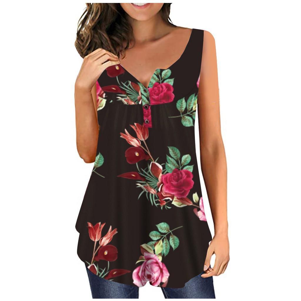 Womens Tops maglia di estate 2020 Moda T-shirt senza maniche casuale allentato scollo a V floreali casual Altalena Camicie Bottoni canotte 601