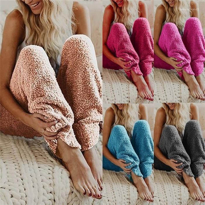 Renk Gevşek Peluş Pantolon Günlük Sıcak Kış Pijama Moda Dişi Pantolon Katı Tasarımcısı Womens