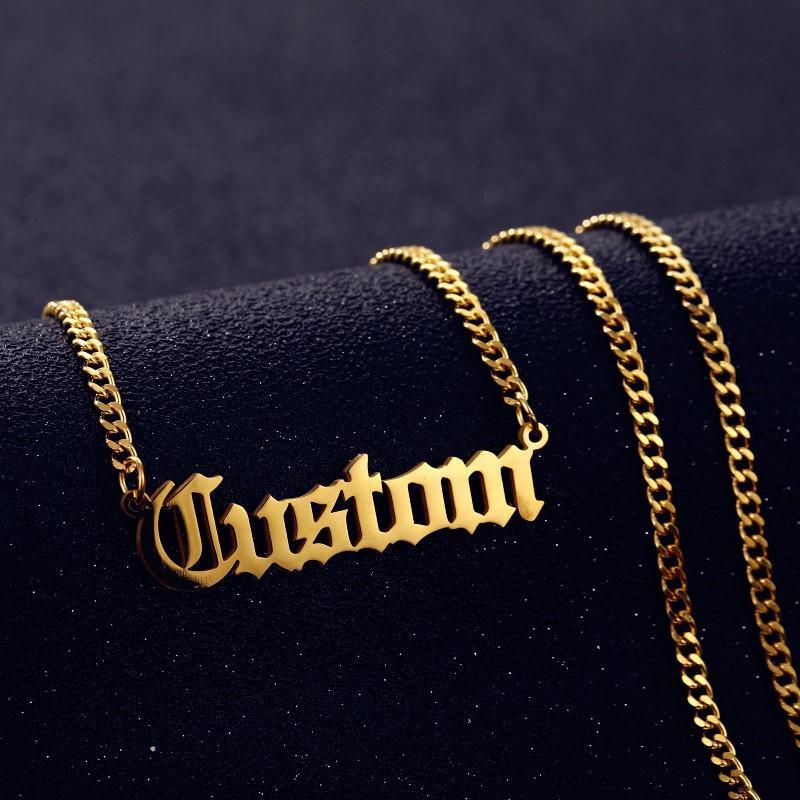 여성 남성 수제 선물에 대한 개인 사용자 정의 이름 목걸이 펜던트 골드 컬러 3mm 쿠바 체인 사용자 정의 네임 플레이트 목걸이
