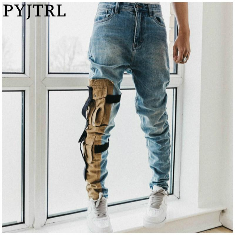 PYJTRL Männer Washed Tasche aus Modische dünne Hosen Biker Jeans Taschen Styling Hip Hop Street Pantalon Hombre
