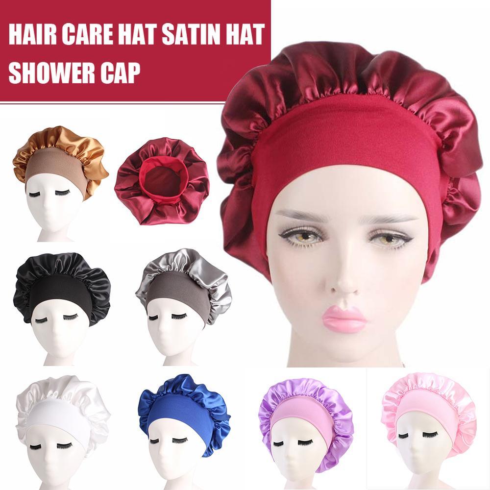 58 centímetros cor sólida longo Hair Care Women Satin Bonnet Cap noite de sono Hat Silk Envoltório principal Ajuste chuveiro Caps