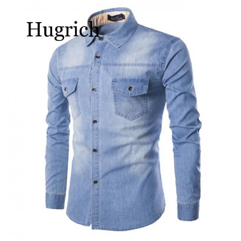 Moda Mens Denim camisa de manga longa Plus Size jeans de algodão cardigan Slim Fit Camisas Homens Two-pocket Tops Roupa M-6XL