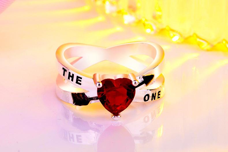 Unique Creative THE ONE Red Heart Zircon Ring Eros Cupid's Arrow Engagement Anniversary Wedding Ring Jewelry for Women bague