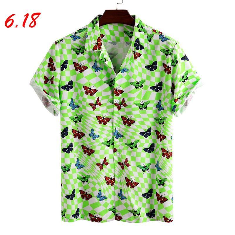 قمصان رجالية عارضة للرجال هاواي مطبوعة رجالي رفض ذوي الياقات البيضاء قصيرة الأكمام الصيف المتناثرة قميص بلوزة أعلى قميص أوم
