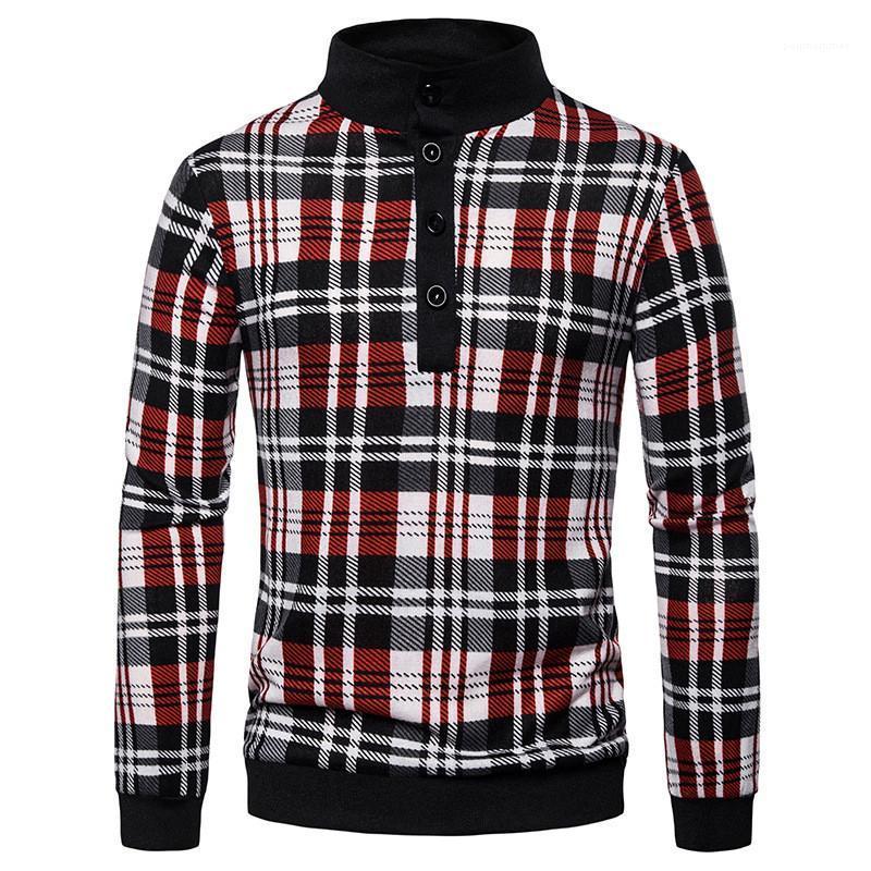 Polos Moda Yaka Yaka Uzun Kollu Polos Casual Tortum Bahar Erkek Tasarımcısı Giyim Erkek Tasarımcı Ekose