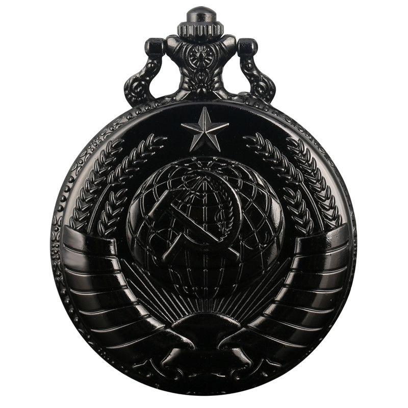 Retro Classic The Russia Federation CCCP Soviet Sickle Hammer Case Quartz Pocket Watch Russian Emblem Communism Necklace Chain