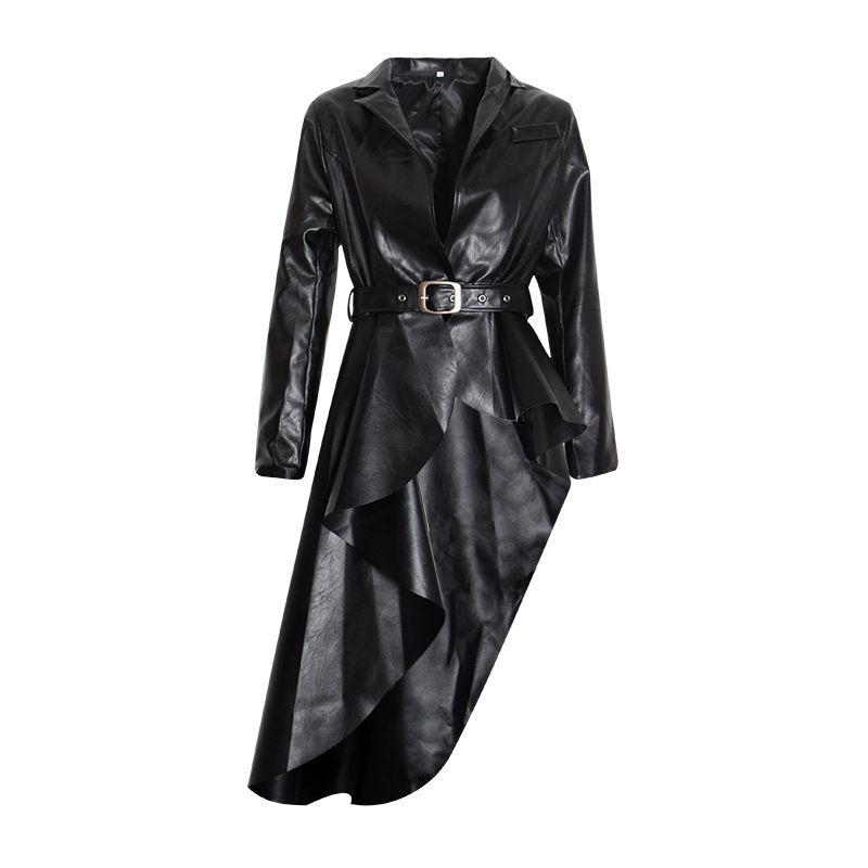 2019 novo preto longo pu jaqueta de couro falso mulheres clássico moto jaqueta de primavera outono senhora magro básico casaco outerwear r1077