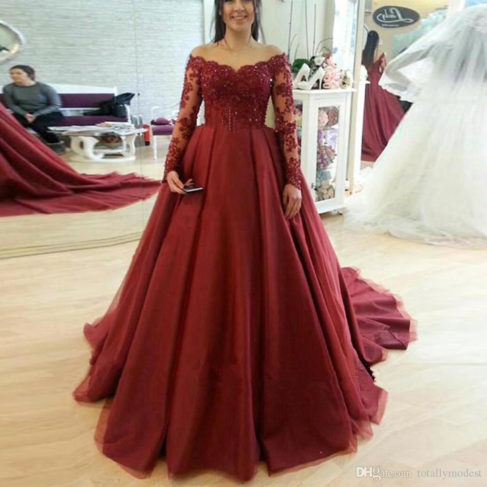 Discount 2019 New A Line Dark Red Gothic Wedding Dresses With Long