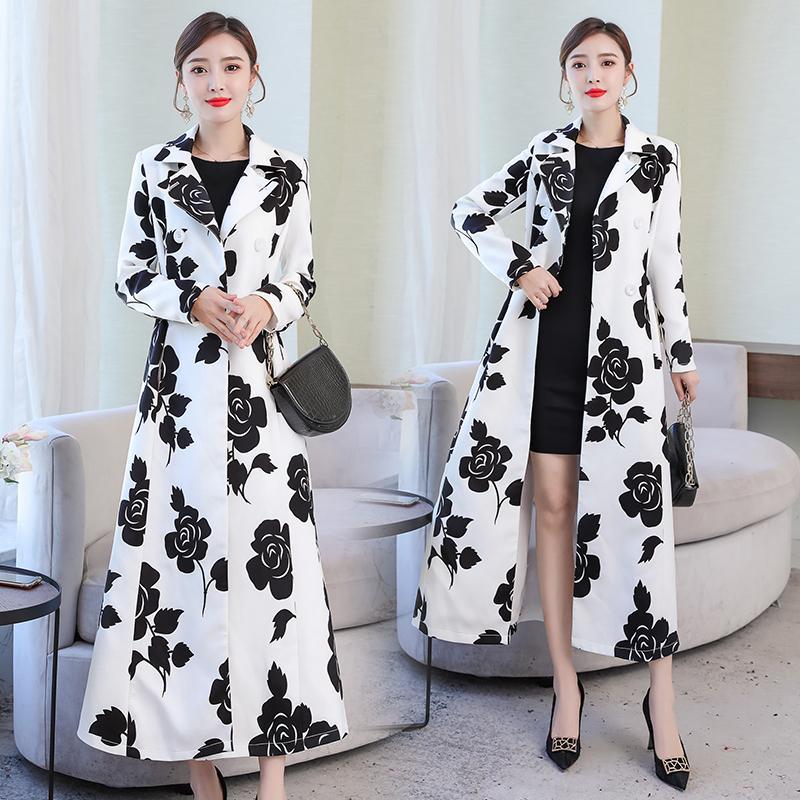 2020 가을 봄 여자의 우아한 꽃 무늬 흰색 트렌치 코트, 여성, 여성 의류 더블 브레스트 코트 높은 웨이스트 외투