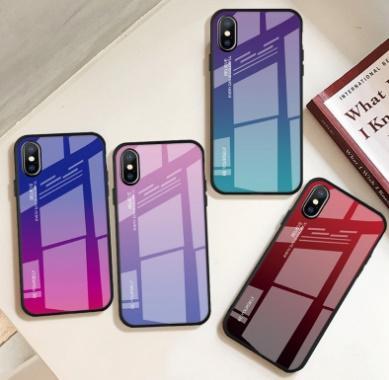 خفف من الزجاج الملونة مرآة الغطاء الواقي الهاتف القضية مرة أخرى لفون Xs ماكس Xr 6 7 8 زائد X S10
