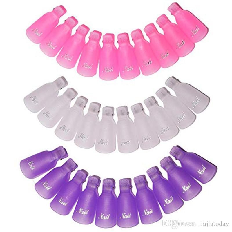 3Color акриловые ногтей для снятия лака клипы, многоразовые ногтей замочить от клипов крышки палец гель для снятия лака обернуть инструмент, - фиолетовый, Розовый, W