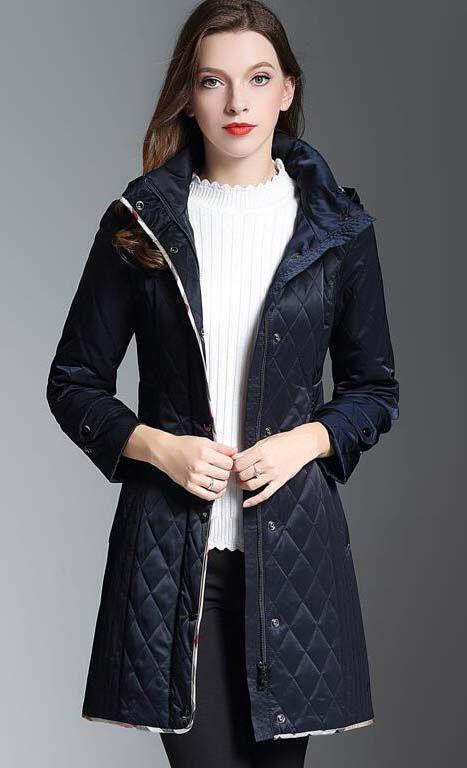 Hot Classic! Damenmode England Middle Long Dünne Baumwolle Gepolsterte Mantel / Marke Designer Hohe Qualität Slim Fit Winter Mantel Für Frauen Größe S-XXL