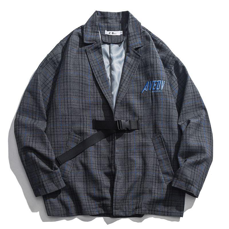 Letter Embroidery Japanese Harajuku Plaid Jacket Men Outerwear Spring Autumn Cardigan Buckle Jackets Men's Jacket Preppy Style