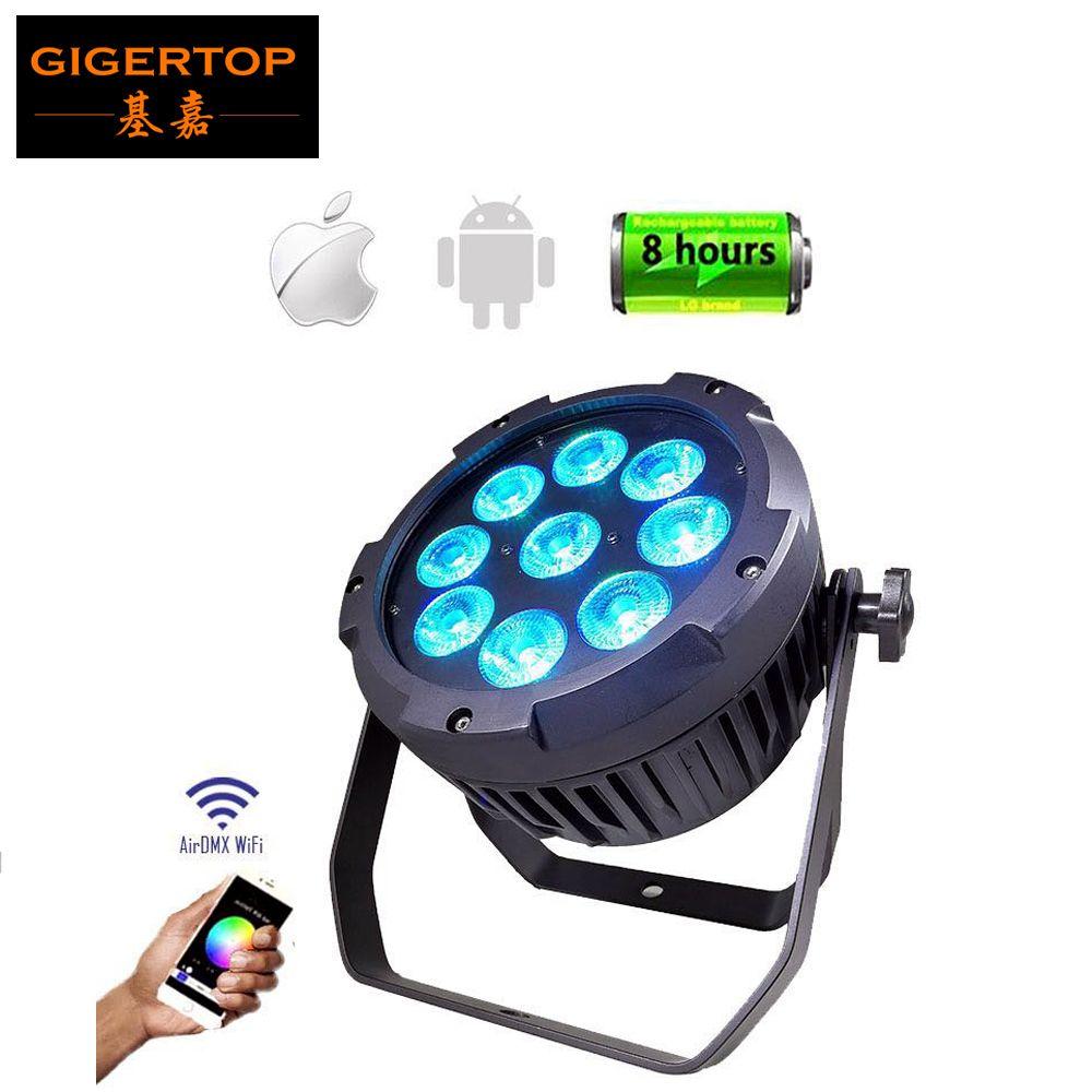 Freeshipping TIPTOP 9x18W Phone App Wifi Waterproof Led Par Light Seetronic Plug Socket RGBWA UV 6IN1 Color 13200MAH Battery Outdoor Use