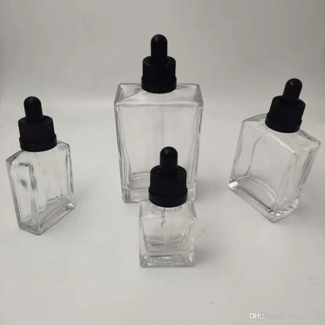Vape quadrato vuoto contagocce vasi bottiglie di vetro essicca succo e liquidi per olio essenziale profumo dell'olio Oliver 15ml 30ml 50ml 100ml