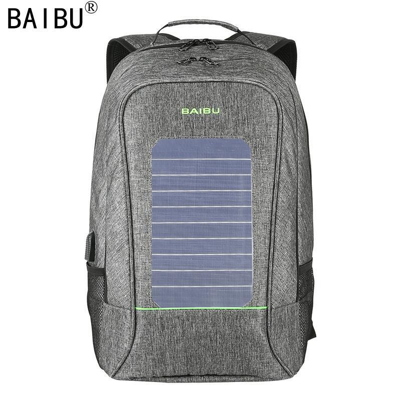 BAIBU Men Backpack Fashion Waterproof Laptop Backpack Solar Powered Backpack Usb Charging Anti-Theft Notebook Bag For Teenagers K4426