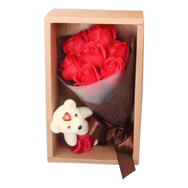 Regalo di San Valentino fiore artificiale 7 Colorful Bath Soap Roses Con il giorno floreale petali di rosa Bouquet Gift Box di Orsetto Madre