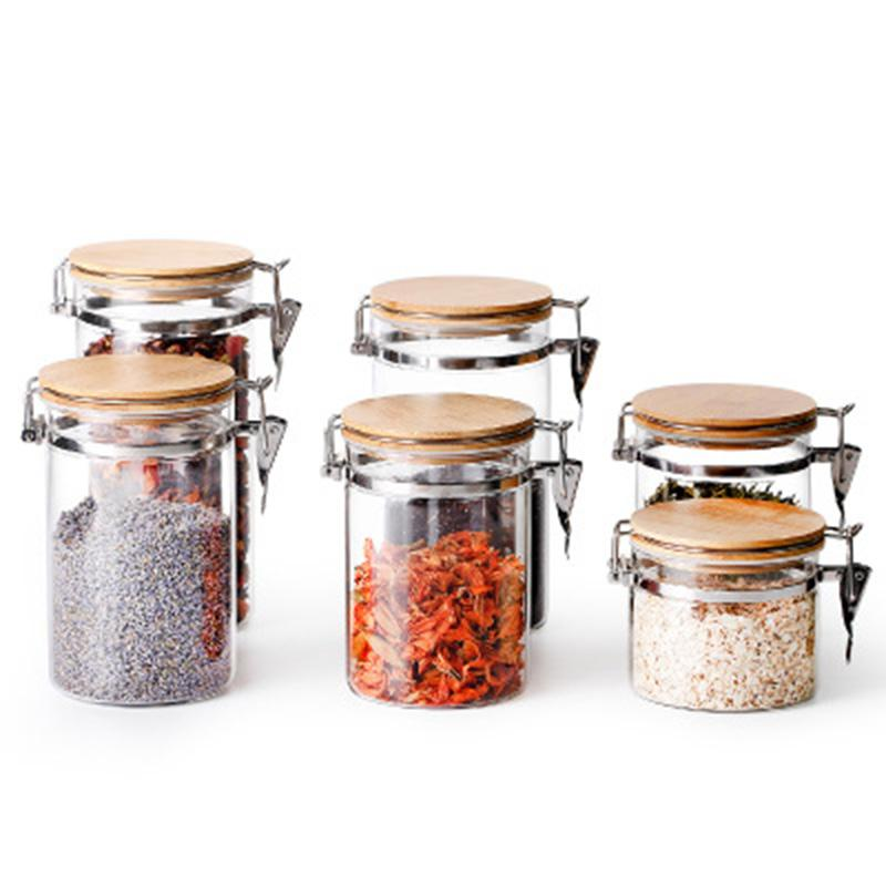 Frasco de armazenamento de alimentos Frasco de armazenamento de alimentos Vidro Com Airtight tampa de vidro Canister Frascos De Vidro Con Tapa Acessórios de cozinha