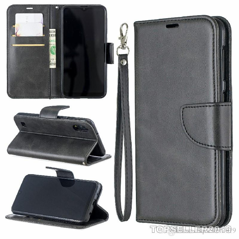 Pour SAMSUNG A20 A30 Pure Color Sheep modèle en cuir Designer Téléphone Housse stand de style de carte Argent comptant Porte-monnaie design B178