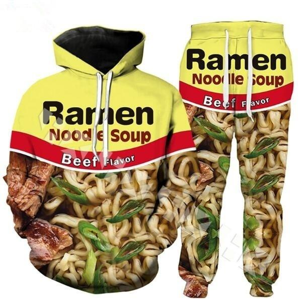 2019 New Fashion Food homens / mulheres Beef Noodle 3D Funny Hoodie Imprimir + Pants