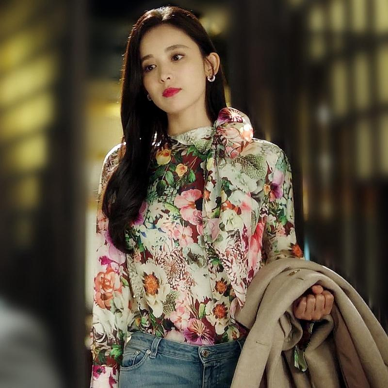 Designer Women Floral Printed Blouse 2020 Spring Summer New Fashion Bow Tie Collar Long Sleeve Elegant Shirts Tops