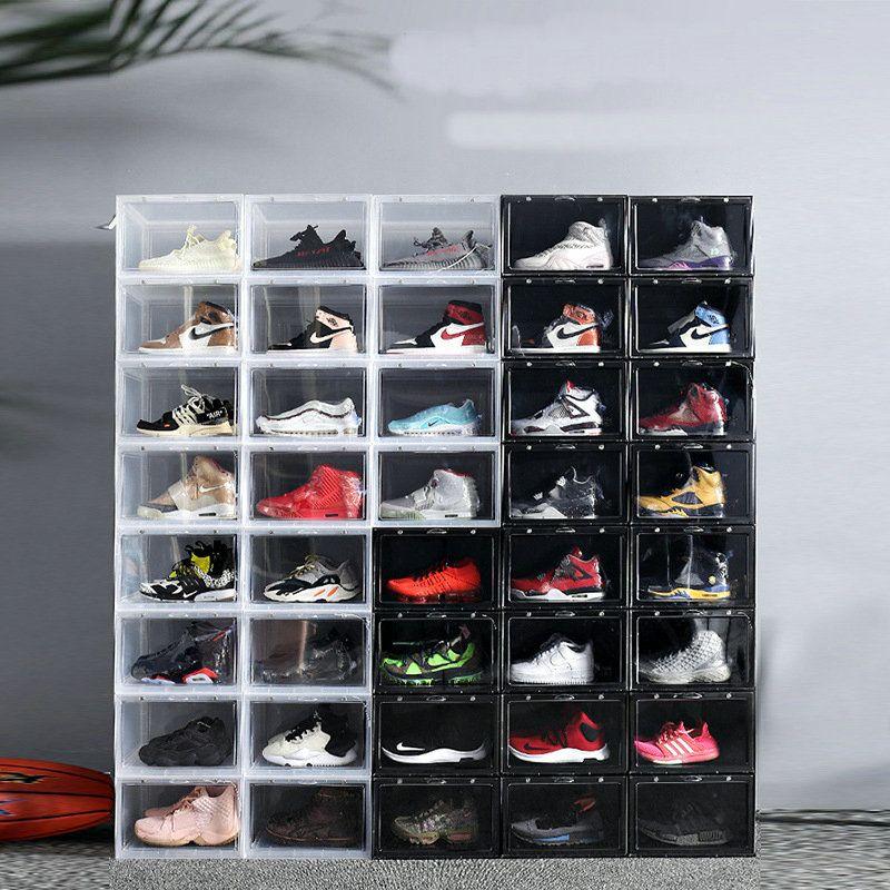 Kapı Ekran Bırak Ön Basketbol spor ayakkabı durum erkekler kadınlara 1pc kutu kapı Mıknatıs ile açık şeffaf sneaker depolama akrilik ayakkabı kutuları