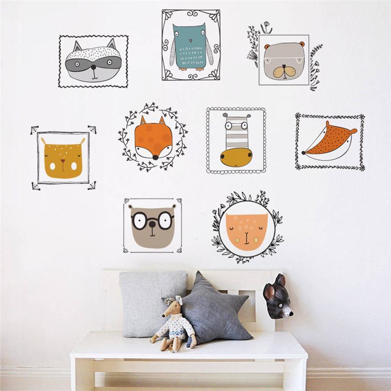 Adesivi Murali Animali Per Bambini.Acquista Cartoon Animali Belli Photo Frame 60 90 Cm Adesivi