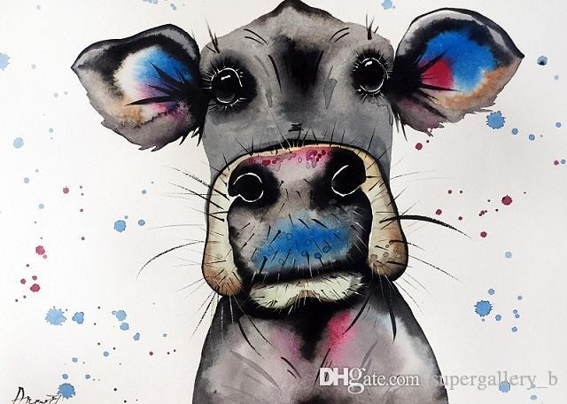 Handpainted & HD Print Modern Abstract Animal Art oil painting Cow Home Wall Decor On High Quality Thick Canvas Multi Sizes a69