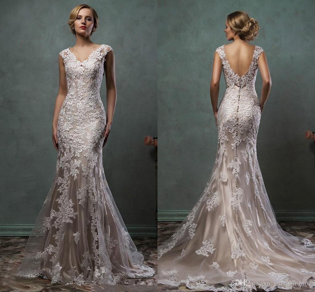 Vintage Amelia Sposa 2020 Champagne dentelle Appliqued sirène robes de mariée Eleagnt dos ouvert V Neck Plus Size Plage Bohème robe de mariée