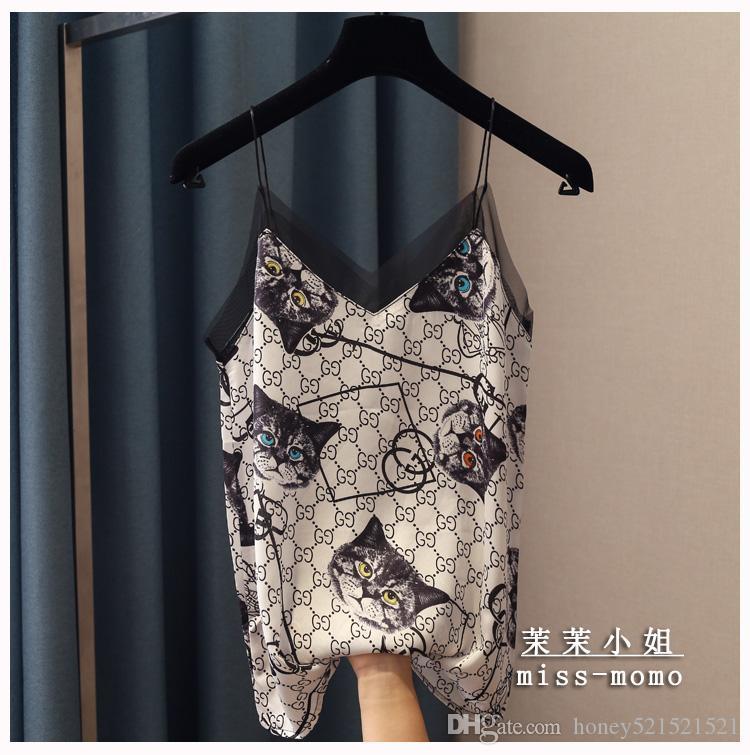 2020 الموضة الجديدة للمرأة مثير spagheti حزام القط الطباعة لطيف الخامس الرقبة سترة قميص قصير الشاش فضفاض مصححة قمم للدبابات صقيل
