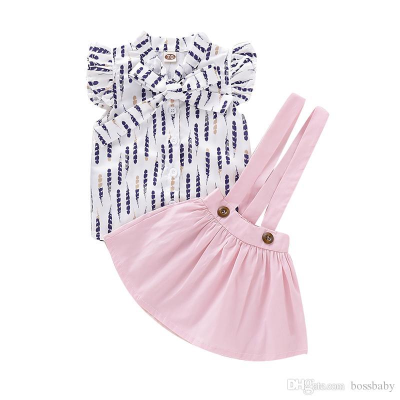 Bebê vestido da menina Define Vestuário Infantil bebê Suit criança Meninas Bow-Tie Botão V-Neck Tops T-shirt do infante da menina roupas de lazer Sólidos Sling Set