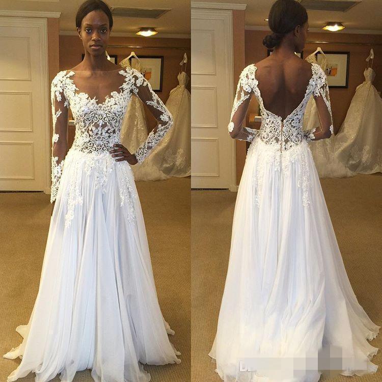 Vestido de novia de la boda de playa 2020 vestidos de boda de Boho Bateau Sheer cuello ilusión apliques sin respaldo piso de la gasa de manga larga de encaje Longitud
