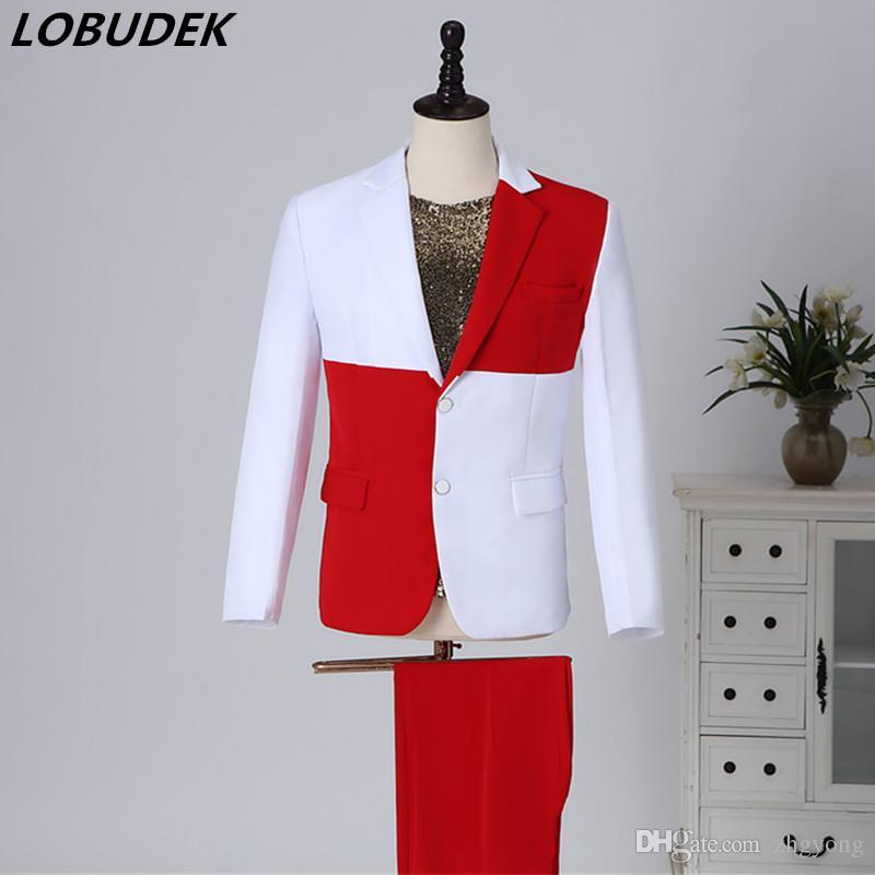 Venda Hot-coreano Estilo Homens Branco Vermelho emenda Stage Suits Moda Tide Cantor Anfitrião Desempenho Catwalk casamento terno do noivo Set Vestido